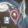 Alex Ross Captain America chalk art mural. Recreation by chalk artist Eric Maruscak.