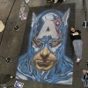 Alex Ross Captain America chalk art mural at the New York City Comic Con. Recreation by chalk artist Eric Maruscak.