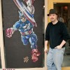 Captain America chalk art. Original drawing by Pascal Ferry, mural by chalk artist Eric Maruscak.