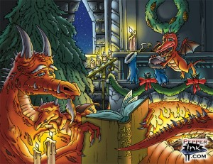 3 Dragons sit by a fire as a Father reads a Yule-time tale to his children. Illustration by Eric Maruscak.
