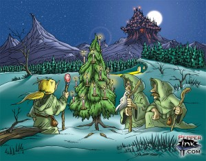 Elves around a Yule Tree fantasy holiday card cartoon digital color by Eric Maruscak.
