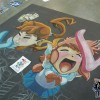 The Otakon 15th Anniversary Chalk Art mural featuring Gundam, Final Fantasy, Godzilla and more. Mural by chalk artist Eric Maruscak.