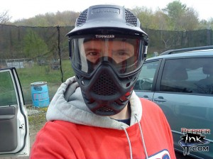 Eric Maruscak in his paintball facemask is ready to take on the EMR Paintball fields in New Milford, PA.