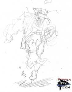 Renegade Runner cartoon gesture sketch.