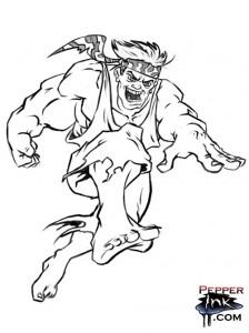 Renegade Runner cartoon digital drawing.