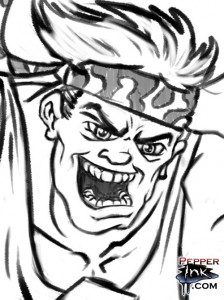 Renegade Runner cartoon showing a close up of the face with digital pencil lines drawn in.
