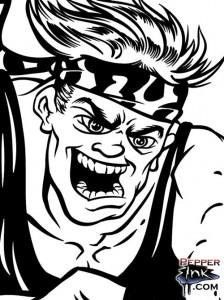 Renegade Runner cartoon close up showing final ink lines.