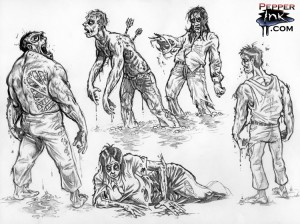 Zombie sketches done in both traditional and digital pencil by illustrator Eric Maruscak.