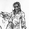 Digital drawing and pencil sketch zombie concept art by illustrator Eric Maruscak.