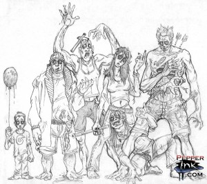 Another series of zombie sketches by illustrator Eric Maruscak.
