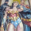 The Wizard World Philadelphia 2008 chalk mural. A recreation of a JG Jones illustration of Batman, Wonder Woman and Superman from DC Comics Final Crisis event. Chalk art by illustrator Eric Maruscak.