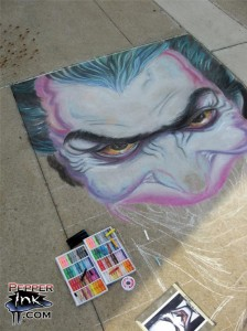 The Joker from DC Comics comes to life in this chalk art recreation of an Alex Ross Painting by illustrator and street mural artist Eric Maruscak.