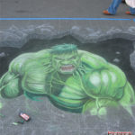 Dale Keown Hulk Chalk Art Mural