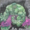 The Incredible Hulk from Marvel Comics. Original illustration by Dale Keown, chalk art by illustrator and street painter Eric Maruscak.