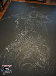 The Vampire Hunter D chalk art mural for the New York Anime 2008 convention at the Javits Center in New York City. Original painting by Yoshitaka Amano from the character created by Hideyuhi Kikuchi. Chalk art by illustrator Eric Maruscak.