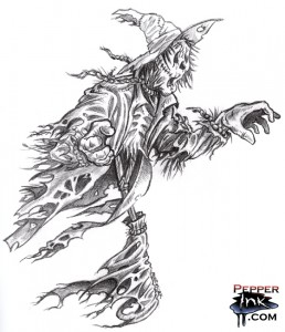 A pencil sketch of a horror version of the Scarecrow from the Wizard of Oz by illustrator Eric Maruscak.