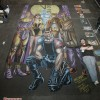The New York Comic Con 2009 Watchmen chalk art mural. Original art by Dave Gibbons from characters created by Alan Moore. Chalk art by illustrator Eric Maruscak.