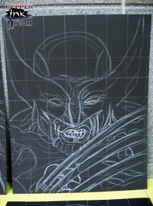 Chalk Art recreations of Greg Horn's Marvel Skulls paintings done for Marvel Comics Secret Invasion event. Chalk art by illustrator Eric Maruscak.