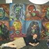 Chalk Art recreations of Greg Horn's Marvel Skulls paintings done for Marvel Comics Secret Invasion event. Chalk art at Wizard World Chicago 2008 by illustrator Eric Maruscak.