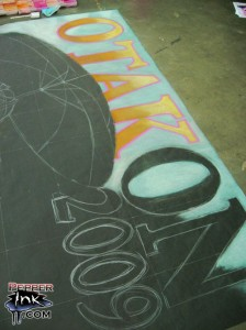 The Otakon 2009 Convention chalk mural. Original anime art by Studio Udon. Chalk art mural by illustrator Eric Maruscak.