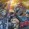 Chalk Art recreation of a Carlos Pacheco Ultimate Avengers drawing from Marvel Comics. Drawn for the Chicago Comic Con 2009. Ultimate Avengers is written by Mark Millar, the chalk art is by illustrator Eric Maruscak.