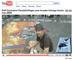 panelsonpages.com video about their experience at the chicago comic con, with a brief bit about artist, illustrator and chalk mural creator Eric Maruscak at the end making his Ultimate Avengers Chalk Art Mural.