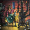 Robot smith illustration of worker in goggles next to old stove with robot in background. Illustration by concept artist Eric Maruscak.