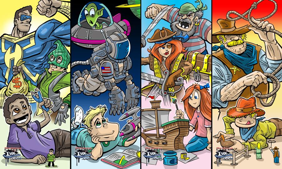 Cartoon art for the 2014 International Toy Fair by Illustrator Eric Maruscak.