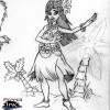 Cartoon pencil sketch of a female hula dancer for the Ridley Lowell Let Us Help You campaign. Cartoon drawing by artist and illustrator Eric Maruscak.