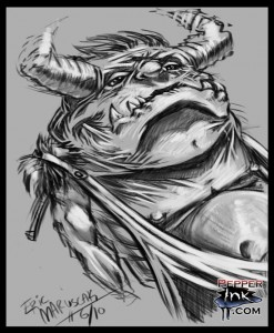 Almost Daily Sketch Number One by Illustrator and Cartoonist Eric Maruscak. Digital drawing in Corel painter of a Where The Wild things Are inspired monster.
