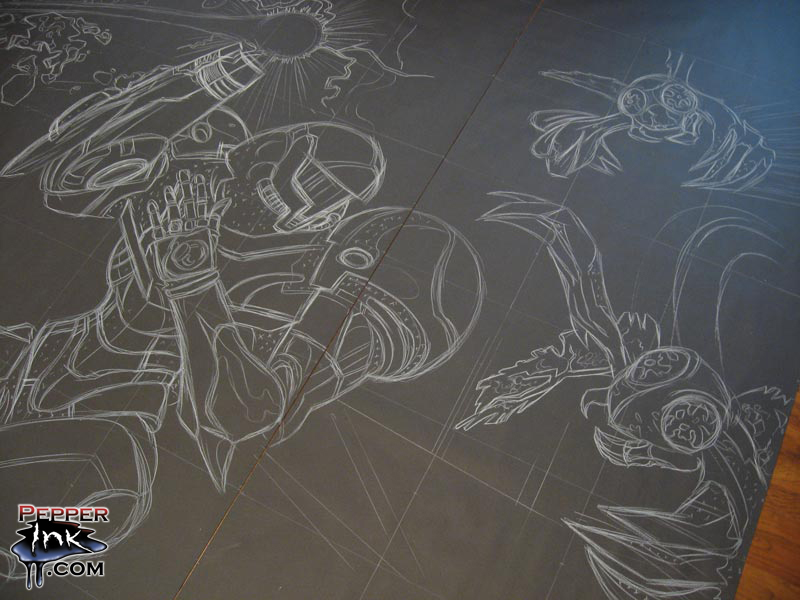 PAX 2010 and the Metroid: Other M Chalk Mural — Pepperink.com