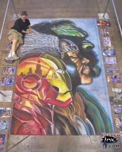 Illustrator Eric Maruscak makes a recreation of Alex Ross original artwork for the 2010 C2E2 convention The poster features the original Marvel Comics Avengers line up with the Hulk, Thor, Iron Man, and a small Ant Man and Wasp in the Hulk's hair.