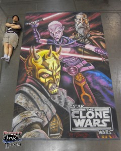 Illustrator Eric Maruscak creates a mural for Lucasfilm at the Star Wars Celebration V convention in Orlando, Florida. The mural features Count Dooku, Asajj Ventress and the introduction of a new villain Savage Opress who is the brother of Darth Maul.