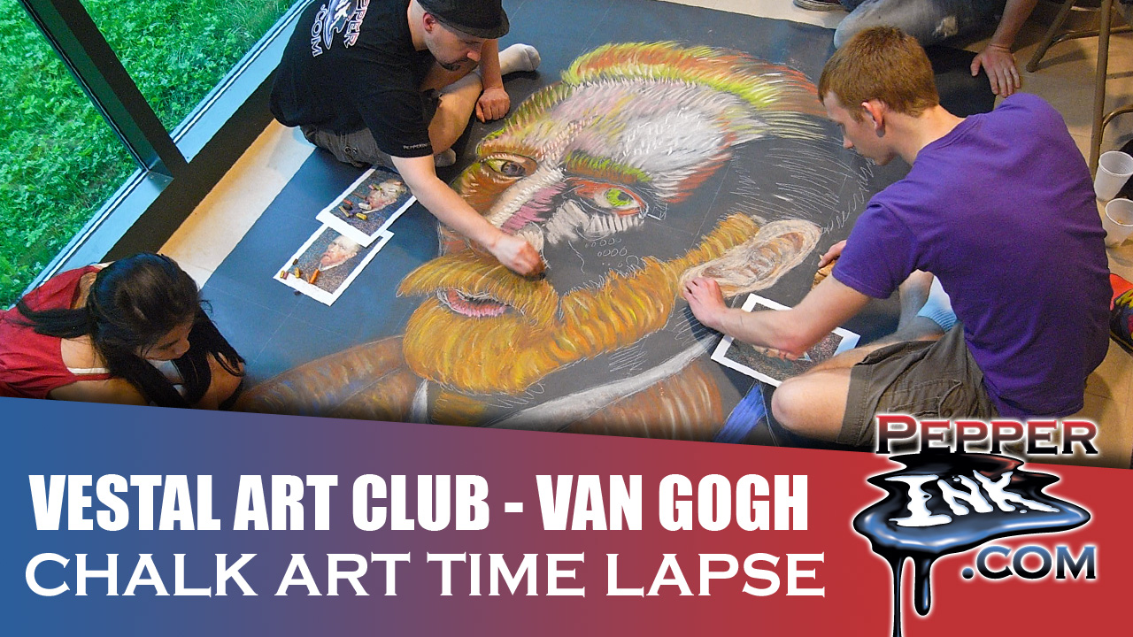 Vestal High School Van Gough Chalk Art Thumbnail