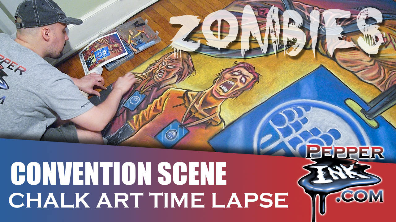 Convention Scene Zombies Chalk Art Thumbnail
