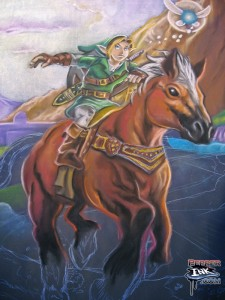 Illustrator and chalk mural artist Eric Maruscak creates a mural for Nintendo of The Legend of Zelda: Ocarina of Time on the 3DS at the San Diego Comic Con in 2011.