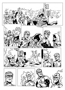 Cartoonist and Illustrator Eric Maruscak draws installment #238 of the webcomic, the-gutters.com featuring the Green Lantern, the Flash, and the mystery DC Woman Pandora.