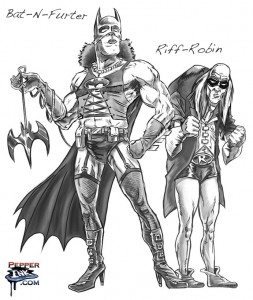 Cartoonist and Illustrator Eric Maruscak draws Batman as Dr. Frank-n-Furter from the Rockey Horror Picture Show, with Robin as Riff-Raff.