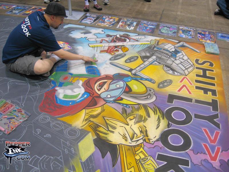 C2E2 Photos – Shiftylook Chalk Art Mural — Pepperink.com