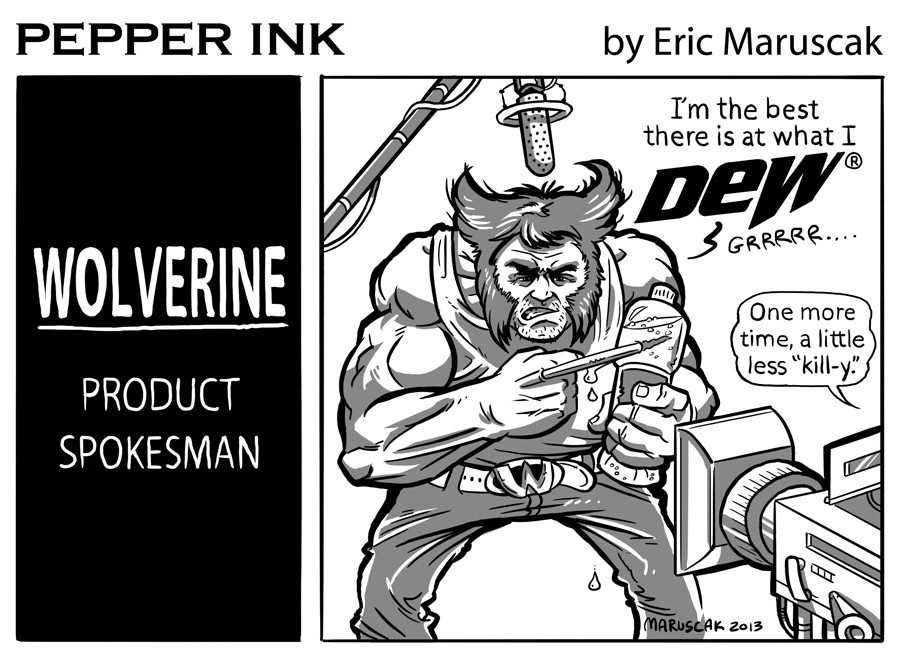 Pepperink - The webcomic by cartoonist Eric Maruscak. Marvel Comic's Wolverine, from X-Men Fame, Promotes a popular soft drink.