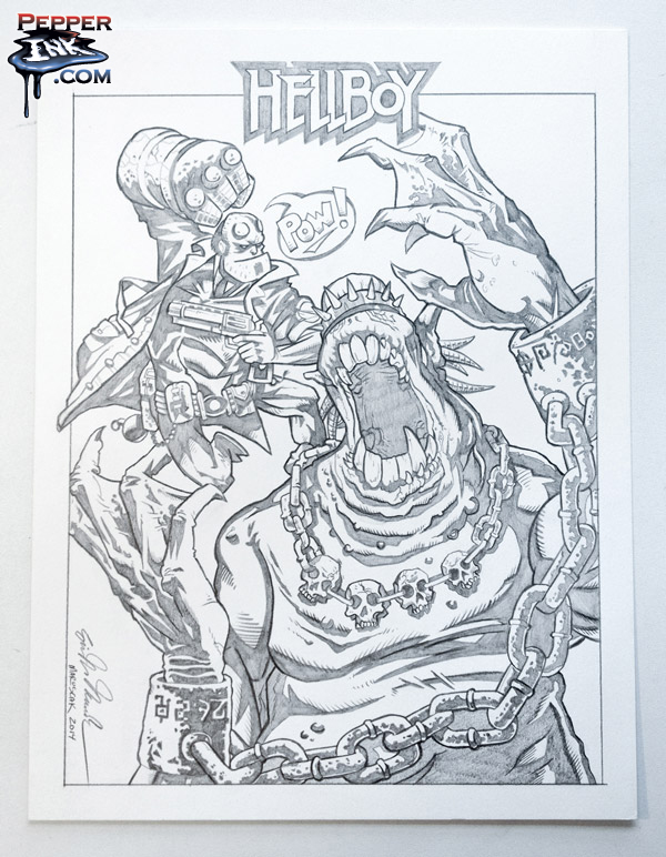 Hellboy original pencil art by illustrator Eric Maruscak.