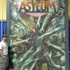 Final Long beach Comic Con Chalk art for John Carpenter's Asylum comic book. Mural by illustrator Eric Maruscak.