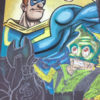 Progress on the chalk art Superhero