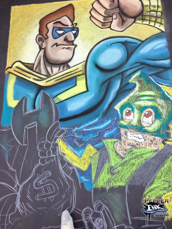 Progress on the Superhero from the Toy Fair 2014 Chalk Art.
