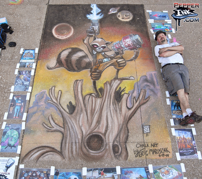Rocket Raccoon Chalk Art by illustrator Eric Maruscak, original art by Skottie Young.