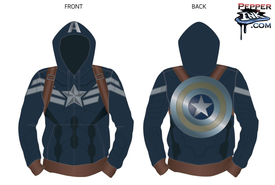 Captain America Hoody design for Marvel at San Diego Comic Con by illustrator Eric Maruscak.