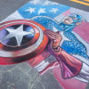 Captain America color progress in chalk by illustrator Eric Maruscak.