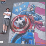 Chalk Recreation of Luke Ross Captain America Artwork