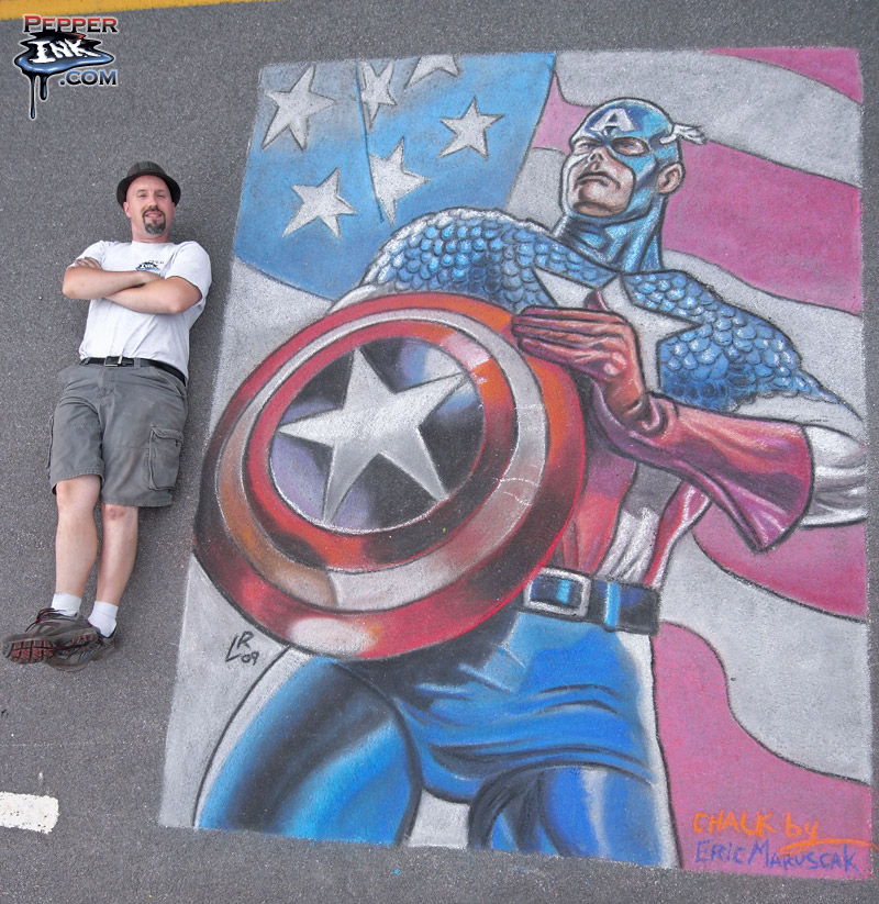 Captain America chalk art by illustrator Eric Maruscak, original art by Luke Ross.