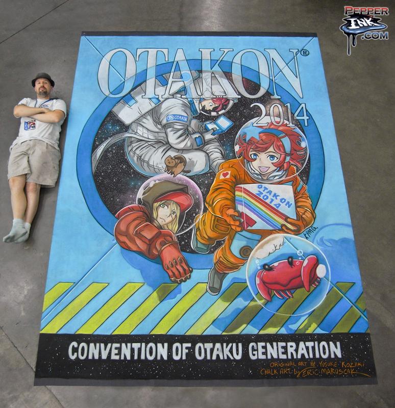 Completed Otakon chalk art by illustrator Eric Maruscak, original art by Yusuke Kozaki.